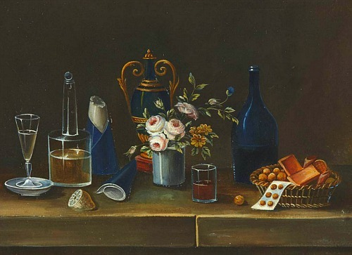 Paul Lelong Still Life of Wine, Sugar, Flowers and Fruit Early 19th century