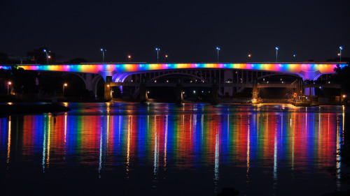 millcitytimes:  35W Rainbow Pride Bridge on Flickr. Via Flickr:MillCityTimes.com - 35W Bridge with rainbow lighting for Twin Cities Pride. Near the Stone Arch Bridge from Mill Ruins Park in the Historic Mill District of Minneapolis.