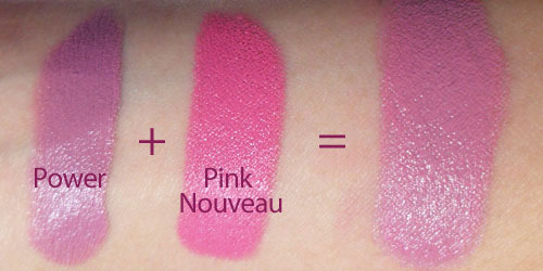 Lip Mix: Alternative to Snob? (MAC Pink Nouveau + NYX Power Lipsticks) —- I don't know why I've never tried this before… If you think MAC Snob is a little too pale or ashy for your skin tone, but you really like the concept of a retro bright, creamy mauve, try this combination. What you'll get is a shade that is a touch more vibrant and saturated than Snob (or Revlon Matte Lipstick in Pink Pout), which is great if either of those look too grey or dull on your skin.  The concentrated satin texture of Pink Nouveau thickens up the waxy texture of Power, so that you get a rich opaque creme that wears beautifully and does not settle into lines on your lips the way Power does usually. If you find MAC Satins a little too drying for you, this is also a perfect way to lighten it up.  Lip swatch: Blend of MAC Pink Nouveau and NYX Power without liner or base. —- For touch-ups, I just bring both out with me, and it doesn't take a lot of blending or tools. Apply a light coat of NYX Power over each lip, and then  go over with MAC Pink Nouveau.  Press your lips together a few times to make sure the color is even on both lips, and that's about it!