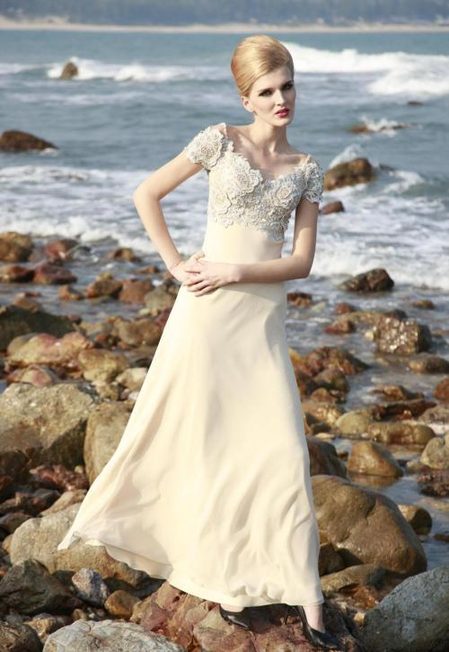 Simple Cream Wedding Dress With Floral Embroidery £300.00  Conservative wedding dress in off white cream colour featuring A line silhouette with chiffon overlay floor length skirt and unique boat neckline with floral hand embroidery all across the bodice. Send us a message to inquire about our plus size or if you like this dress in another colour of your choice.