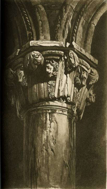 John Ruskin, The Ducal Palace, Twentieth Capital, 1853. Engraved by Thos. Lupton. Photogravure from mezzotint of original watercolor. Source: Stones of Venice, volume III.