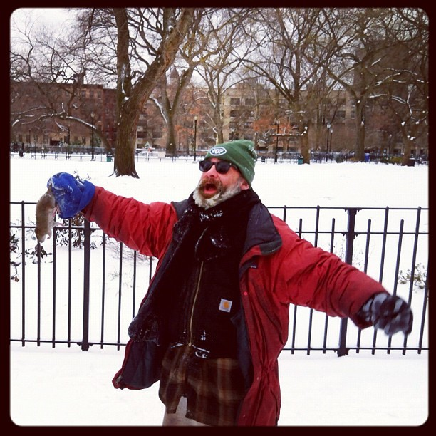 Check out what Victor caught! #eastvillage #tompkins #rat #snow #saturday (Taken with Instagram at Tompkins Square Park)