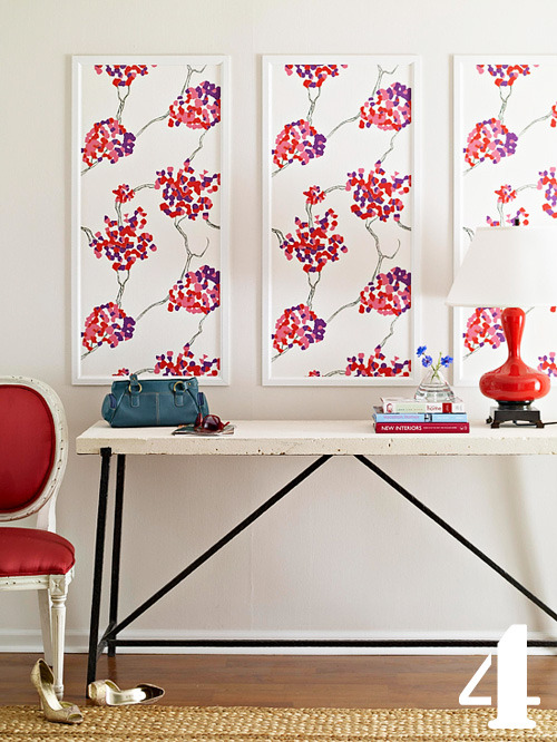Frame a favorite fabric to create chic and colorful wall art (via decor8)