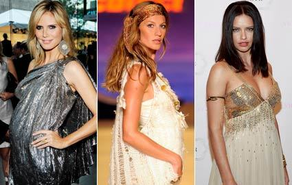 Pregnancy is so glamorous when you're a VS Angel. (L-R) Heidi Klum, Gisele Bundchen, Adriana Lima