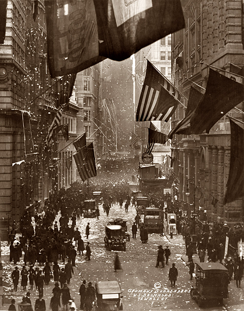 librar-y:   Celebration on Wall Street upon the news of Germany's surrender in World War I. November 1918.