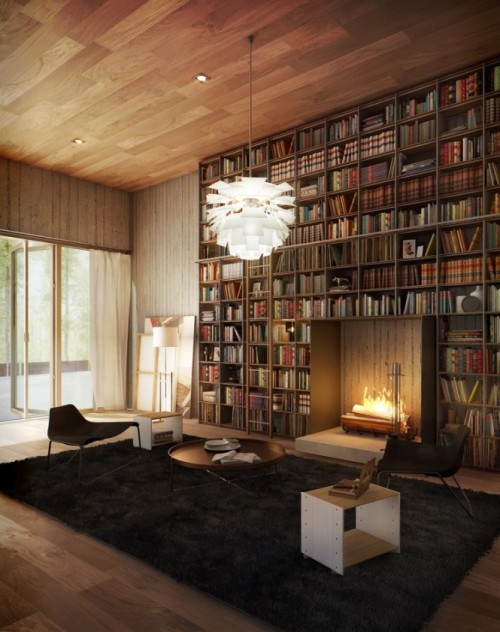 bookmania:  A Library With Fireplace (via {E}vermotion)  If this were my library, I would call in sick to work every day.