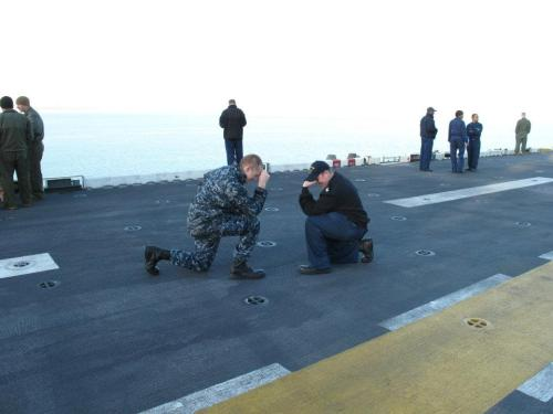 Tebowing the flight deck