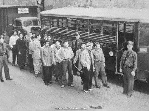 Zoot Suit Riots: The Zoot Suit Riots were a series of riots in 1943 during World War II that erupted in Los Angeles, California between white sailors and Marines stationed throughout the city and Latino youths, who were recognizable by the zoot suits they favored. While Mexican Americans and military servicemen were the main parties in the riots, African American and Filipino/Filipino American youth were also involved. The Zoot Suit Riots were in part the effect of the infamous Sleepy Lagoon murder which involved the death of a young Latino man in a barrio near Los Angeles. The incident triggered similar attacks against Latinos in Beaumont, Chicago, San Diego, Detroit, Evansville, Philadelphia, and New York.