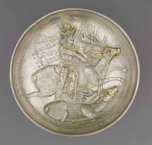 centuriespast:  Gilded silver plate showing a king hunting Found/Acquired Turkey (?) 4thC The British Museum