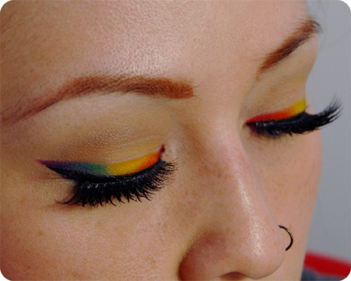 Check out this easy tutorial for how to create a rainbow eye liner look!