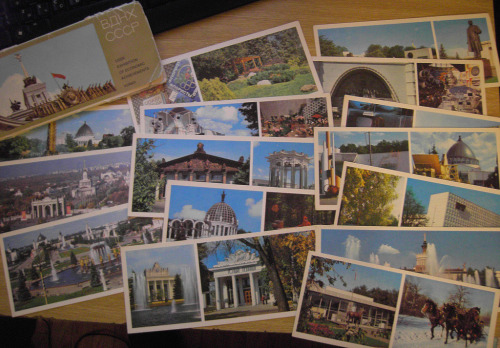 sovietpostcards:  GIVEAWAY! I'm doing a small giveaway on this blog. This is a set of 15 postcards featuring VDNKh, a huge exhibition center in Moscow. They are from 1982, and they've been feeling really lonely lately with all my attention thrown at New Year postcards. So I'm searching a loving home for this set! Its cover is not of collectable quality, but postcards are in a very fine condition. If you want this set, just reblog this post. Shipping, domestic or international, is on me. Winner will be drawed on Friday, January 27th.