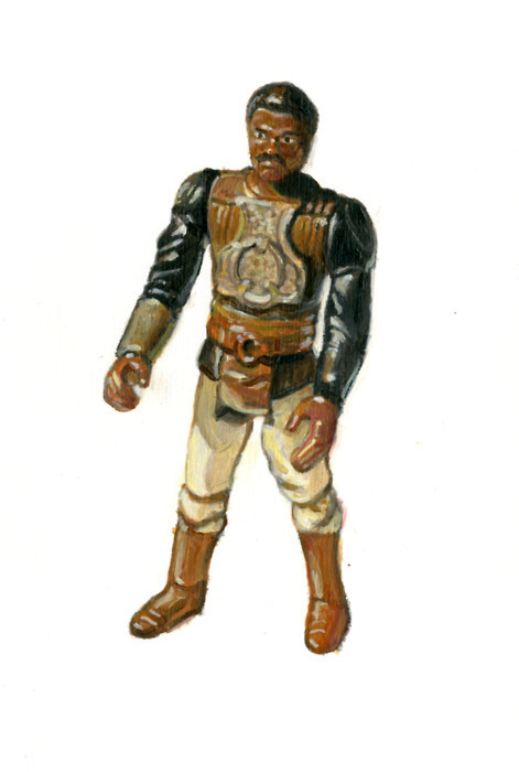 "Allan Innman  - ""Lando as Skiff Guard"" Oil on paper (framed)  - 7.25"" x 9.25"" http://store.spoke-art.com/category/supersonic-electronic-invitational"