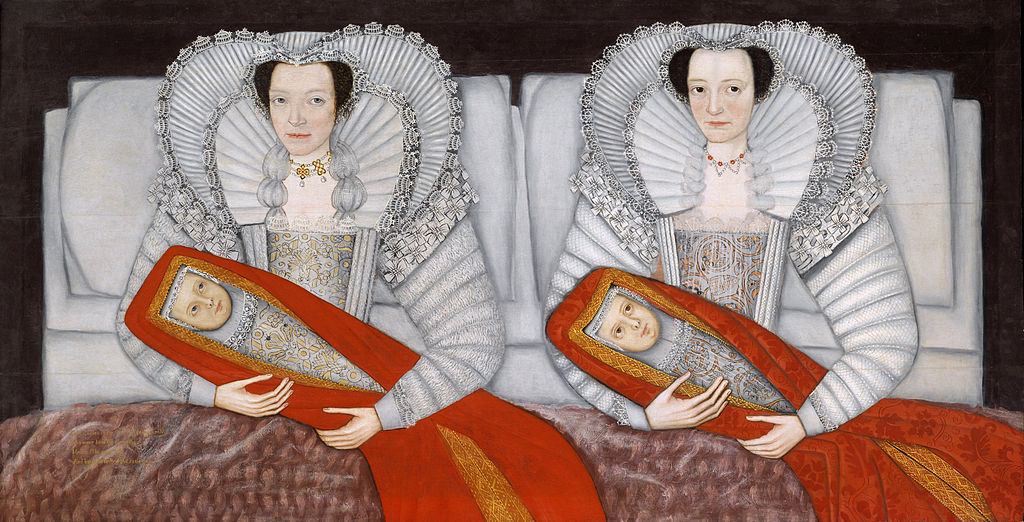 "The Cholmondeley Ladies c. 1600-1610 I saw this in the Tate Britain when I was in London at the end of last year. In person you can see it's fairly large (about 3.5' tall), and the glossy paint shines under the museum lights. I stood in front of it for a long time. It's just such a weird and compelling double portrait. The artist is unknown. Here's a short description from the Tate's website: ""According to the inscription (bottom left), this painting shows 'Two Ladies of the Cholmondeley Family, Who were born the same day, Married the same day, And brought to Bed [gave birth] the same day'. To mark this dynastic event, they are formally presented in bed, their babies wrapped in scarlet fabric. Identical at a superficial glance, the lace, jewellery and eye colours of the ladies and infants are in fact carefully differentiated. The format echoes tomb sculpture of the period. The ladies, whose precise identities are unclear, were probably painted by an artist based in Chester, near the Cholmondeley estates."""