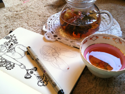 crzee4art:  My day has been mostly tea, drawing, and Merlin~  Kind of a lazy day but oh well~ ♪(´ε` )
