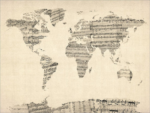 thatswhtjustnsaid:  map of the world in sheet music.