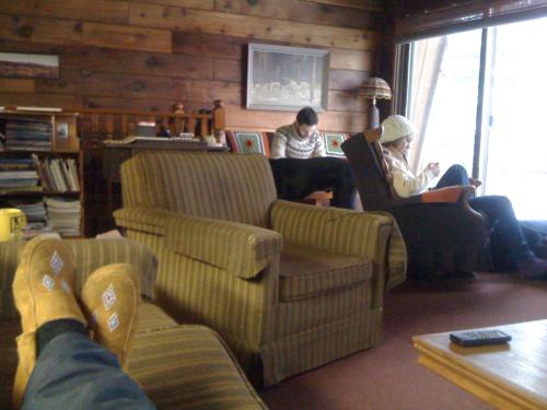 Cabin hangs with buds.