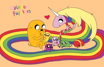 the second Jake said he wanted to have rainbow pupsters with Lady, i thought of this. i expect some of them would have Jake's powers, and others would be able to fly. idk.