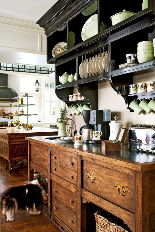 georgianadesign:  Antique hutch inspired coffee bar. Designer Joan Nemirow in Traditional Home.