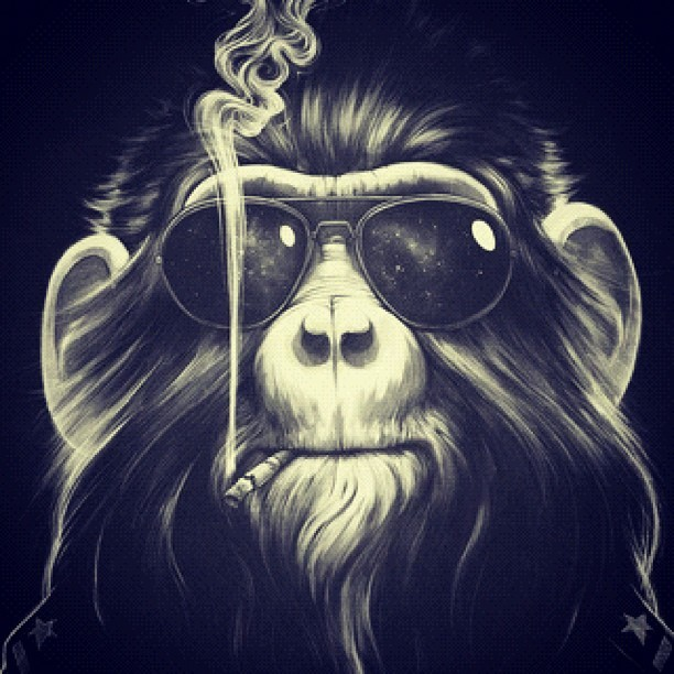 #Illustration #Cool #Monkey #Drawing #hairy #smoke #cig (Taken with instagram)