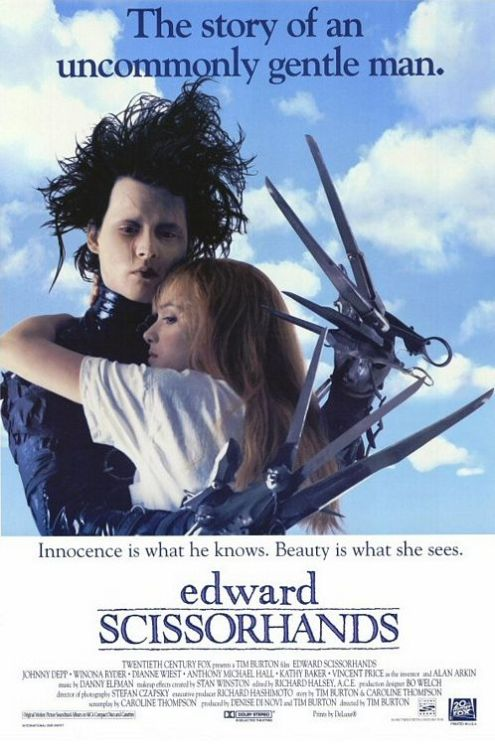 #3 - Edward Scissorhands (1990) How could I have gone so long without ever seeing this film??? I had no idea I would love it so much. Yeah, I've seen a bunch of other Burton films, but I can't believe how this one crosses German Expressionism with 60s Sunshine Pop. Who knew you could do that?!?! There has to be a term… for when a movie has a retro look and feel, but you know it's still present day… like these present day people just haven't changed their style in 20-30 years??? The only other example that sticks out in my mind is Napoleon Dynamite. The score was amazing! It also had a 50s choral feel. The story is pretty much Beauty and the Beast, with a few quirks, nothing really surprising. Just delightfully absurd.