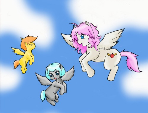 askdraftandswitch:  Name: Patience Type: Pegasus Cutie Mark: An apple with golden wings Body: White Mane and Tail: cherry blossom pink Eyes: blue Info: Patience is a flight school teacher in Cloudsdale. She teaches the young Pegasus ponies how to fly. She is kind and cares deeply for her friends and students. She is sometimes prone to childish outbursts and forgets she is the teacher. In her spare time she is often seen eating large amounts of food to keep her energized and ready for new adventures with her group of friends.   Awwww'r.  I have a soft spot for teacher ponies =]   Check out my friends' Askblog and ask them some questions!  And check out Allison's Tumblr, too.  She's an awesome artist and cosplayer!  You should tell her to post pictures of her Pinkie Pie cosplay ;)