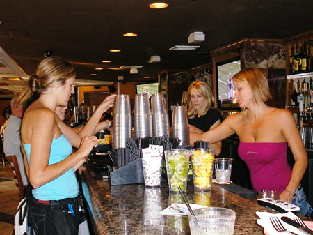 Hot waitresses everywhere at Hurricane's Bar in Huntington Beach, CA