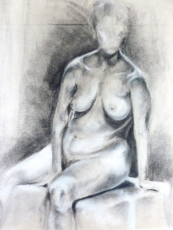 Seated figure, bright light Charcoal and conté on newsprint, 18x24
