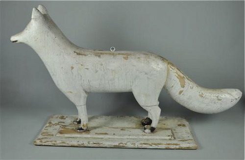 (via White fox ~ Candler Arts)  Possibly part of a tavern sign, circa 1900, according to Ken Farmer Auctions. The carved wood fox, from New York State, will be auctioned next weekend…