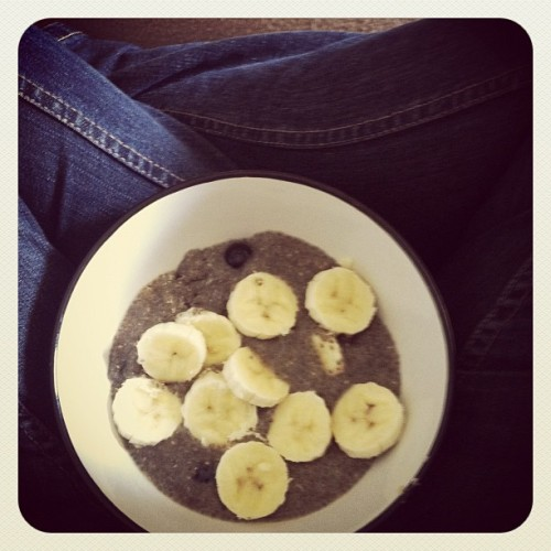 #breakfast Superfoods combine. Banana | Chia Seeds | Blueberries | Rice Milk | LSA (Taken with instagram)