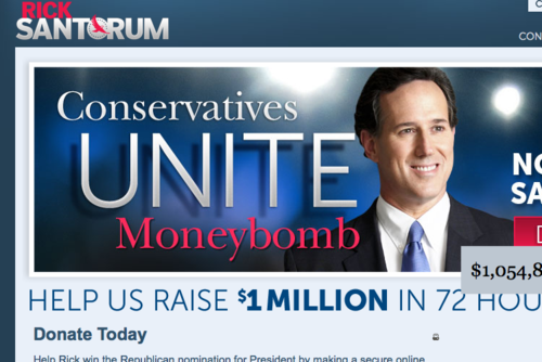 "Currently on the front page of RickSantorum.com:  ""Conservatives UNITE Moneybomb""  or, you know, CUM."