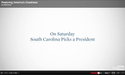 Still from a Mitt Romney YouTube ad that the campaign has probably come to regret.