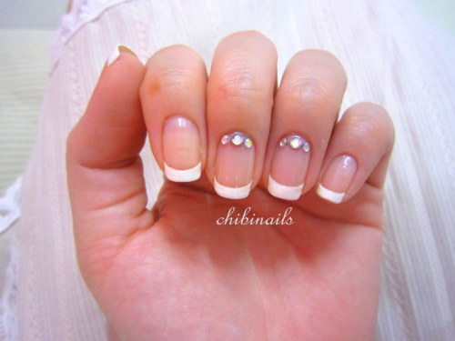 Classic french nails with a touch of rhinestones. Haven't done classic french in a while now.