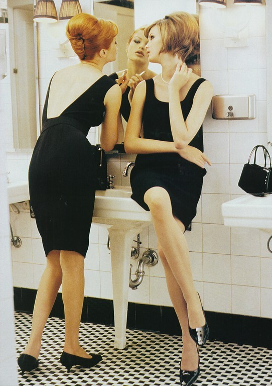 Carolyn Murphy and Trish Goff photographed by Pamela Hanson for Harper's Bazaar, August 1995