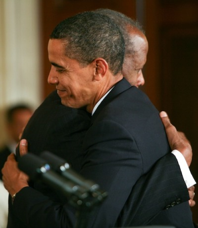 frankiemachines:  President Obama and Sidney Poitier at the Medal of Freedom ceremony, 2009  Now that is a hug.