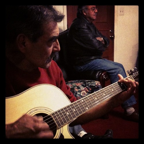 Tio Tito rockin out on my guitar! :)  (Taken with instagram)