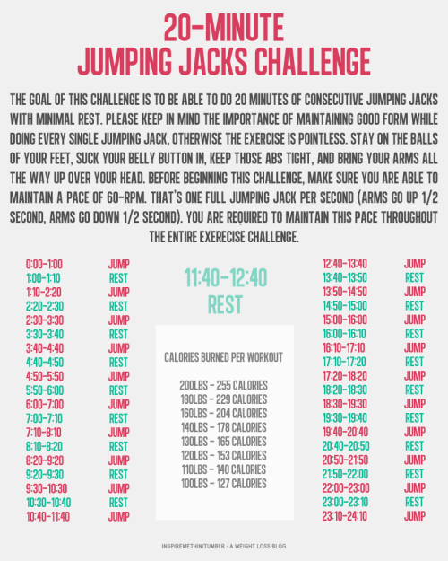 girlgrowingsmall:  inspiremethin:  Jumping jacks are an awesome cardiovascular exercise! They're easy, so anyone can do them. They get the heart rate up pretty fast and are good for increasing cardiovascular health. Not to mention they pack a serious calorie burn! But doing only 100 at a time or 500 jumping jacks spread out throughout the day isn't really helping you. The key is to sustain an elevated heart rate for an extended amount of time. So here's a challenge I've come up with. Build your endurance until you can do 20min of jumping jacks (not including rest time). By the time you're done, you will have killer calves! That's a promise! Good luck and happy jumping!  Use this stopwatch to track your progress.  I really struggle with jumping jacks because of how my excess skin pulls when I jump but I do try to push myself.