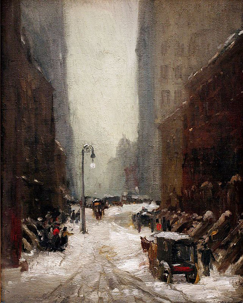 "ckck:  ""Snow in New York"" by Robert Henri, 1902."