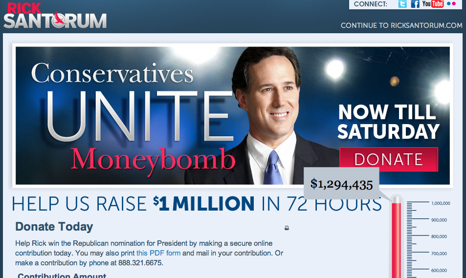 "producermatthew:  GOP presidential nominee hopeful Rick Santorum, apparently unaware of ironic acronyms, wants you to participate in the Conservatives Unite Moneybomb, or C.U.M.  This is real. (If you're having a hard time understanding why this is ironic, Google the word ""Santorum"")"