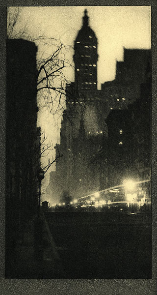The Singer Building, Twilight Coburn, Alvin Langdon, b.1882-1966 New York, 				1913 Photogravure  Paul Binnie, Scottish, b. 1967  New York Night  oil on canvas painting, framed, signed Binnie with artist's red seal-form date 10 [2010]  24 by 18 1/8 in., 61 by 46 cm  http://www.scholten-japanese-art.com/binnie_03.htm