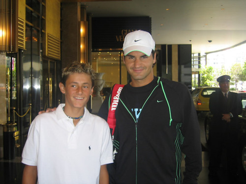Federer still looks exactly like this. Tomic kind of looks like a younger Fed during his Blonde Ambition years.