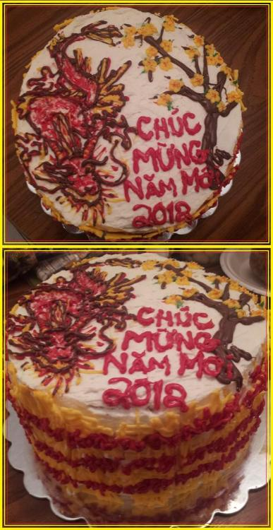 Chúc Mừng Năm Mới 2012 Made a cake for Tet. Dragon and Hoa Mai w/ south Viet flag on the side.  Pretty good for a 3 in the morning cake. :)