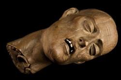 Carved wooden head of a Christian martyr, Europe, (ca. 1550). Found here (via Meinbert Gozewijn Van Soest).