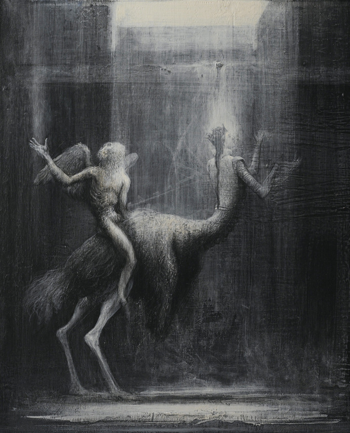 Agostino Arrivabene Carnem /levare 2010/2011 Martyrdom of Sain Hybrid and her holy baboom hommage to Joel  Peter Witkin mixed media on wood cm 40 x 30 www.agostinoarrivabene.it