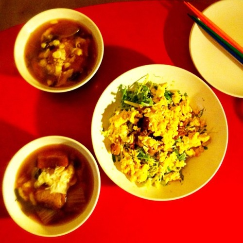 #food #soup #eggs #pork #salad #20120112 (Taken with instagram)