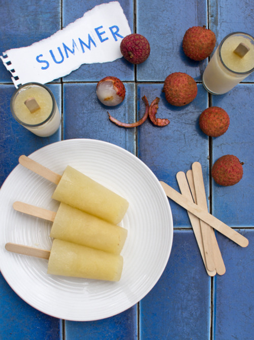 Lychee Vodka and Elderflower Popsicles