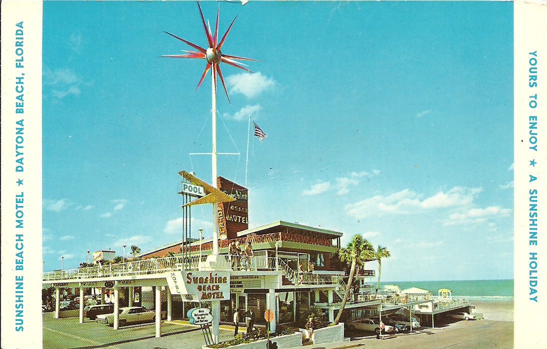 "Sunshine Beach Motel - Directly on the Ocean - ""In the Heart of Everything"" 45 S. Ocean Drive, Daytona Beach, Florida Only One Block to Main St.  Ocean Fishing Pier.  Oceanside Bandshell and Boardwalk amusement Center.  Excellent Restaurants.  HEATED POOL.  Private Terraces.  FREE Underground Garage.  Air Conditioned.  Central Heat.  Hi Fi.  Television.  Room Phones.  Your Host, Jim Schmitt.  A HONEYMOONERS PARADISE - ""Where Dreams Come True"" Love that Sputnik looking thing on the signpost."