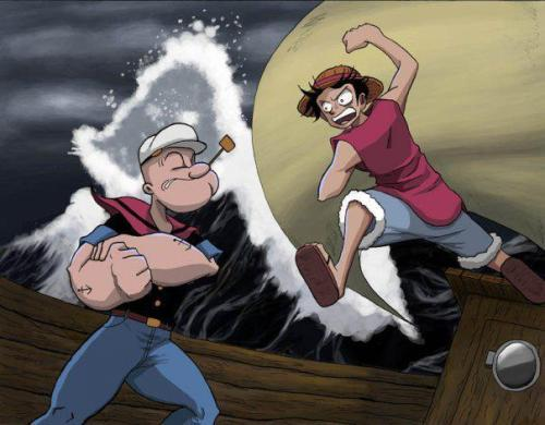 When Popeye meets Monkey D. Luffy.  Who's your bet?