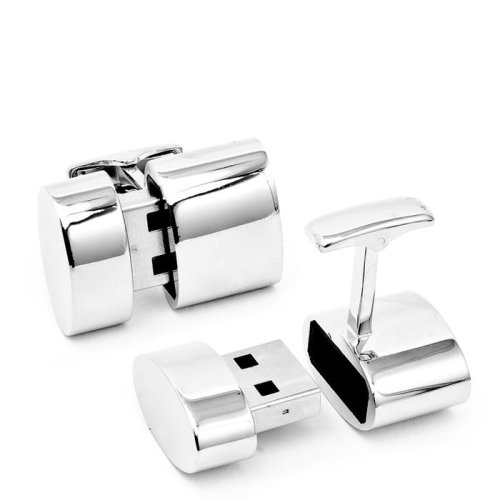 "new-aesthetic:  ""These cufflinks feature 2GB USB storage plus they provide a WiFi hotspot to multiple devices! You can also access media servers from the host computer."" Polished Silver Oval Wifi and 2GB USB Cufflinks at Brookstone  This is some serious spy shit and very relevant to my interests."