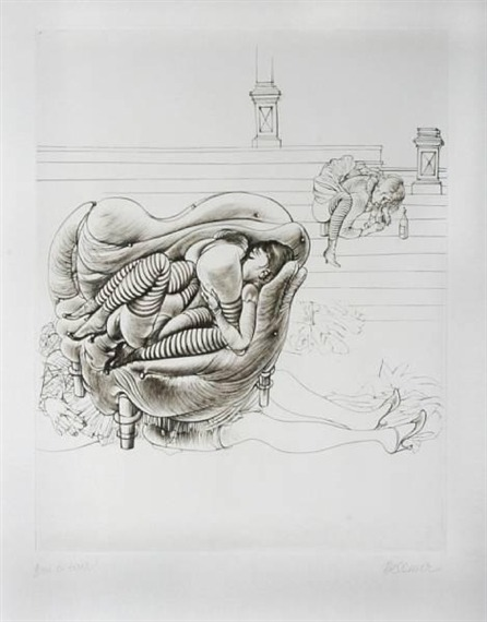 "Three girls around a sofa by Hans Bellmer, 1965 ""It is clear that the world is purely parodical, in other words, that each thing is seen is the parody of another, or is the same thing in a deceptive form. Ever since sentences started to circulate in brains devoted to reflection, an effort at total identification has been made, because with the aid of a copula each sentence ties one thing to another; all things would be visibly connected if one could discover at a single glance and in its totality the tracings of an Ariadne's threat leading thought into its own labyrinth. But the copula of terms is no less irritating than the copulation of bodies. And when I scream I AM THE SUN an integral erection results, because the verb to be is the vehicle of amorous frenzy."" — Georges Bataille, The Solar Anus"