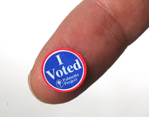 "A printer error is to blame for the cutest ""I Voted"" stickers ever created in lucky Dorchester County, South Carolina.   If any of you followers can track down and send nwktumblr some of these, we'll be forever grateful."